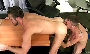 Mike loves it so much his big dick stays hard as he rides and gets pounded by Brett. Finally they both let loose some thick creamy loads all over Mike`s chest.