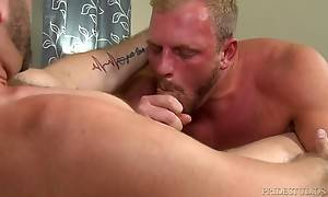 Jake takes it easy on Josh`s glorious blonde golden ass as h...