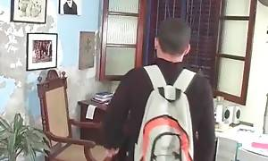 Cute Latin guy has a problem with his PC and his friend`s ready to help him.