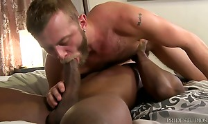 They move to the bed in a 69 for a while and then Pheonix moves to Chandler`s ass and he rims him until his hole is nice and wet for his big thick cock. Chandler sits on it at first and slowly lowers himself all the way down. Once Comfortable, Chandler ri